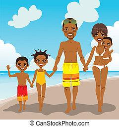 amerykanka, plażowe zwolnienie, rodzina, afrykanin