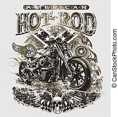 amerykanka, pręt, gorący, motocykl