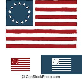 amerykanka, projektować, bandera, oryginał