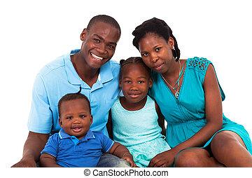 amerykanka, radosny, rodzina, afrykanin