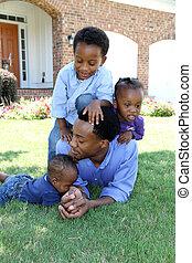 amerykanka, rodzina, afrykanin
