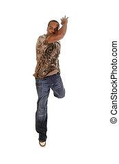 amerykanka, taniec, młody, afrykański człowiek