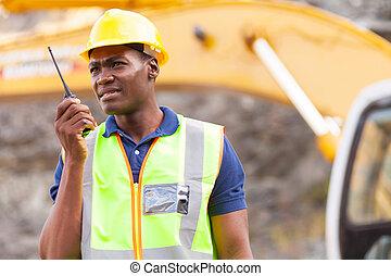 amerykanka, walkie-talkie, pracownik, kopalnia, afrykanin