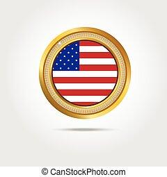 amerykanka, wektor, chorągiew, bandera