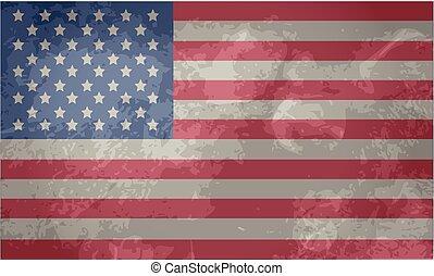amerykanka, wektor, grunge, bandera