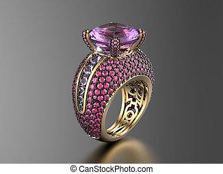 amethyst., 黃金, 戒指, 約會