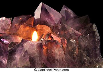 Amethyst Candlelight - Quartz crystal used in alternative...