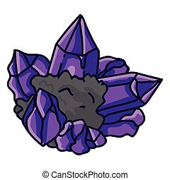 Amethyst crystal birth stone for February clip art. Mystic order precious rock for birthday date. Purple treasure illustration doodle in flat color. Isolated esoteric vector EPS 10.