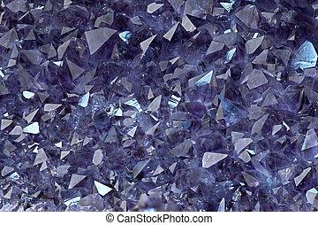 Close up shot of raw Amethyst crystal