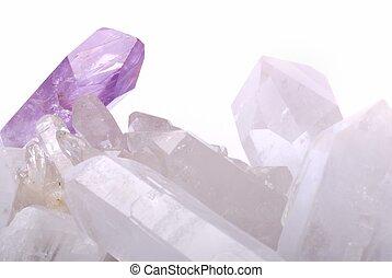 Amethyst energized on quartz crystals - semiprecious gems ...