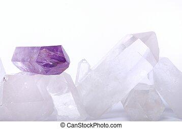 Amethyst energized on quartz crystals - semiprecious gems...