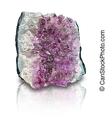Amethyst geode slab isolated