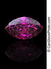 Amethyst. Marquis. Jewelry gems on black background