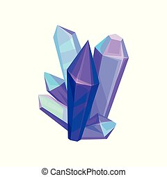 Amethyst mineral crystalic precious stones, crystal gems vector Illustration on a white background