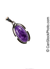 Amethyst Pendant - A beautiful silver pendant with an...