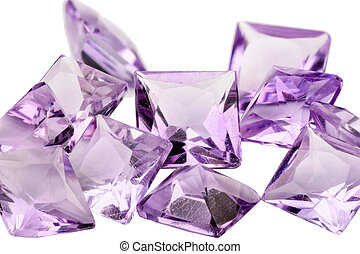 Amethyst princess cut - A pile of violet princess cut ...
