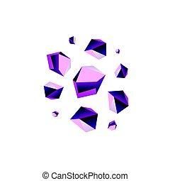 Amethyst stone crystal quartz mineral. Violet variety of...