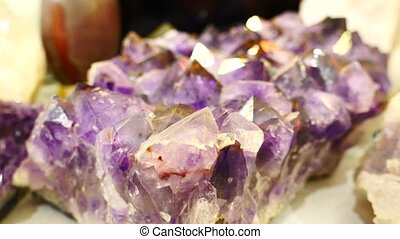 Amethyst stone with big crystals - An amethyst stone with...
