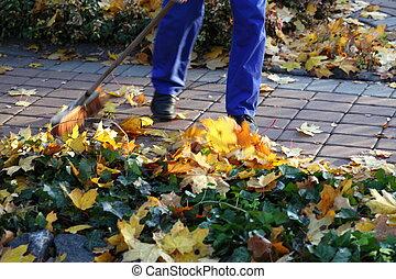 amfiladowe listowie, ogród, człowiek