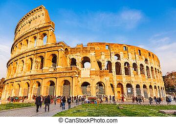 amfiteátrum, alatt, róma