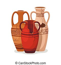 amfora, lera, forntida, arkeologisk, handles., pot., krukor, vektor, romersk, lergods, kärl, gammal, artefacts., grek, vaser, oil., vin, antikvitet, bruten, keramisk, eller, årgång, kanna, två, traditionell, sätta