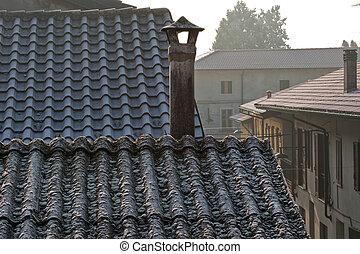 amianto, cima, tetto, camino