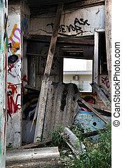 amianto, quebrada, telhado