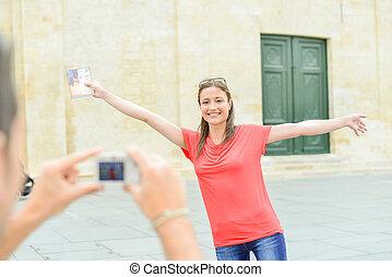 amica, foto, presa, suo