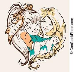 amica, ragazza, abbracciare
