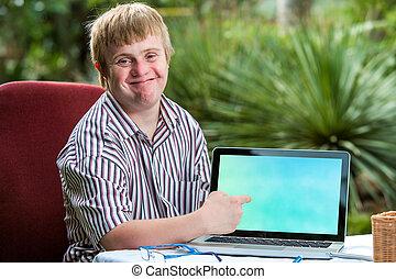 amical, bas, screen., pointage, garçon, vide, syndrome, ordinateur portable