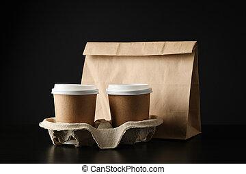 amical, café, texte, espace, -, noir, paquet, fond, tasses,...