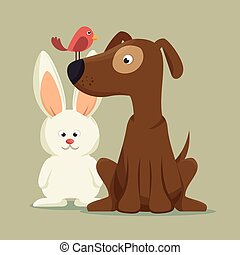 amical, chien oiseau, lapin, mascotte