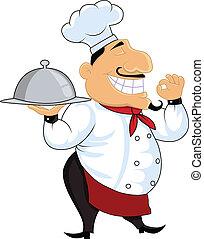 amical, dessin animé, chef cuistot
