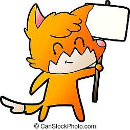 amical, renard, dessin animé, signe