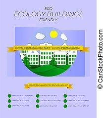 amical, vecteur, écologie, template., illustration, disposition, ville, bâtiments, affiche