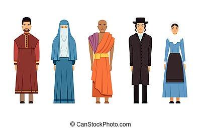 amich, katolikus, lelkész, mormon, emberek, vektor, shinto, anglikán pap, ábra, mennonite, gyűjtés, öltözék, betűk, nők, vagy, hagyományos, vallás