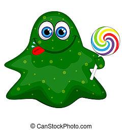amichevole, divertente, mostro, verde