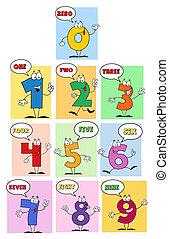 amichevole, numeri, divertente, comics