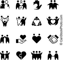 amici, abbraccio, gruppo, contorno, amici, isolato, icons., simboli, armonia, linea, uomo, amichevole, amicizia