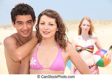 amici, adolescente, spiaggia