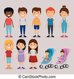 amici, bambini, gruppo, caratteri