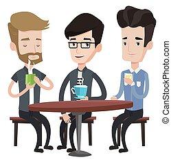 amici, bere, uomini, gruppo, cafe.