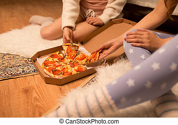 amici, casa, pizza, felice, femmina, mangiare