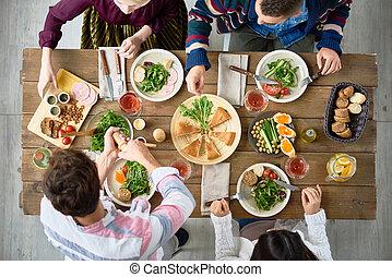 amici, cena, mangiare, tavola