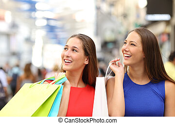 amici, centro commerciale, shopping, due