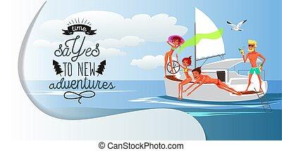 amici, divertimento, su, soleggiato, giorno estate