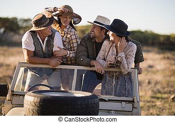 amici, durante, godere, safari, vacanza, felice