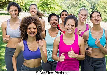 amici, jogging, parco, femmina, felice