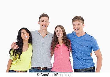 amici, macchina fotografica, gruppo, sguardo, ridere