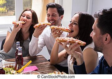 amici, mangiare, delizioso, bruschetta